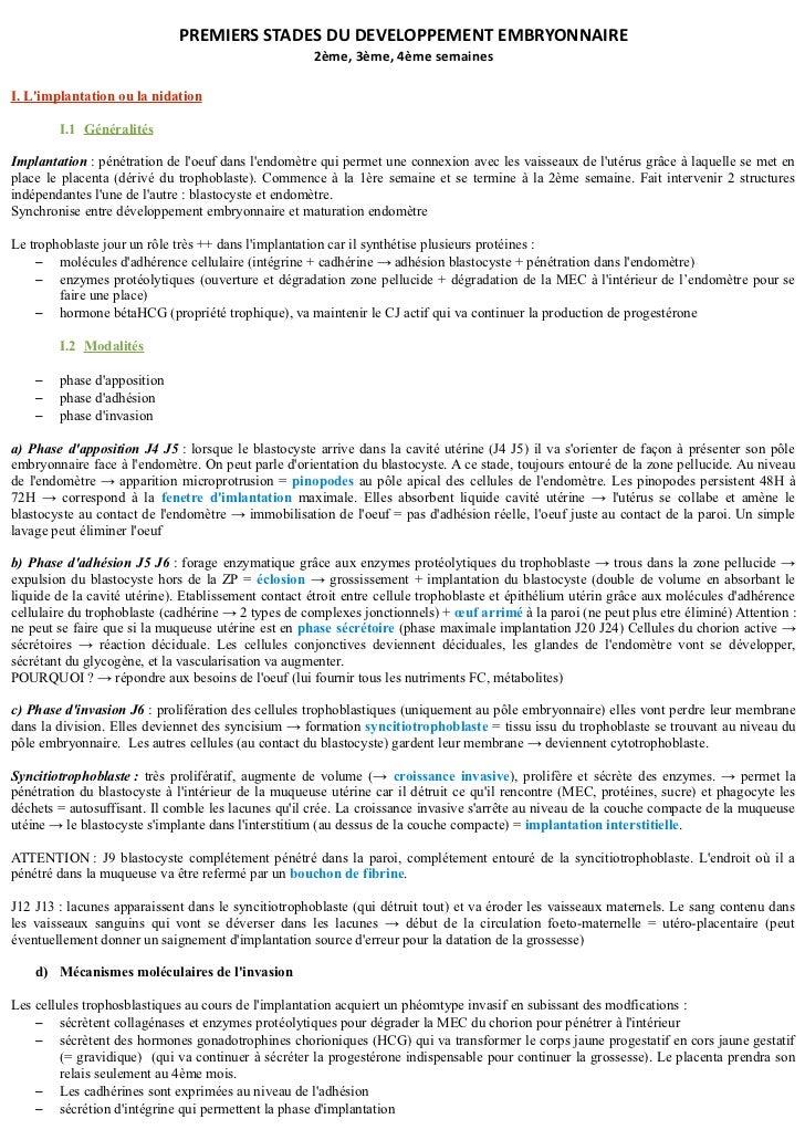 PREMIERS STADES DU DEVELOPPEMENT EMBRYONNAIRE                                                     2ème, 3ème, 4ème semaine...