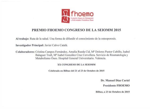 Premio FHOEMO Congreso de SEIOMM 2015