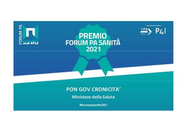 premio forum pa sanita 2021 pon gov cronicita ppt 1 638