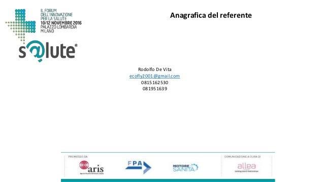 Rodolfo De Vita ecofly2001@gmail.com 0815162530 081951639 Anagrafica del referente
