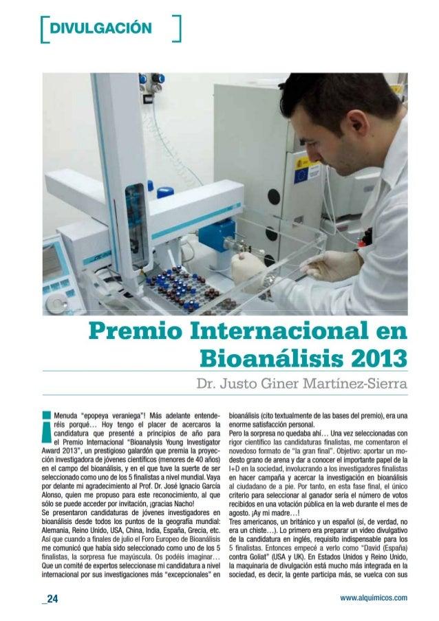 Premio Internacional en Bioanálisis 2013