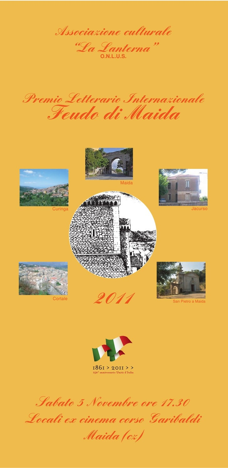 """Associazione culturale        """"La Lanterna""""               O.N.L.U.S.Premio Letterario Internazionale    Feudo di Maida    ..."""