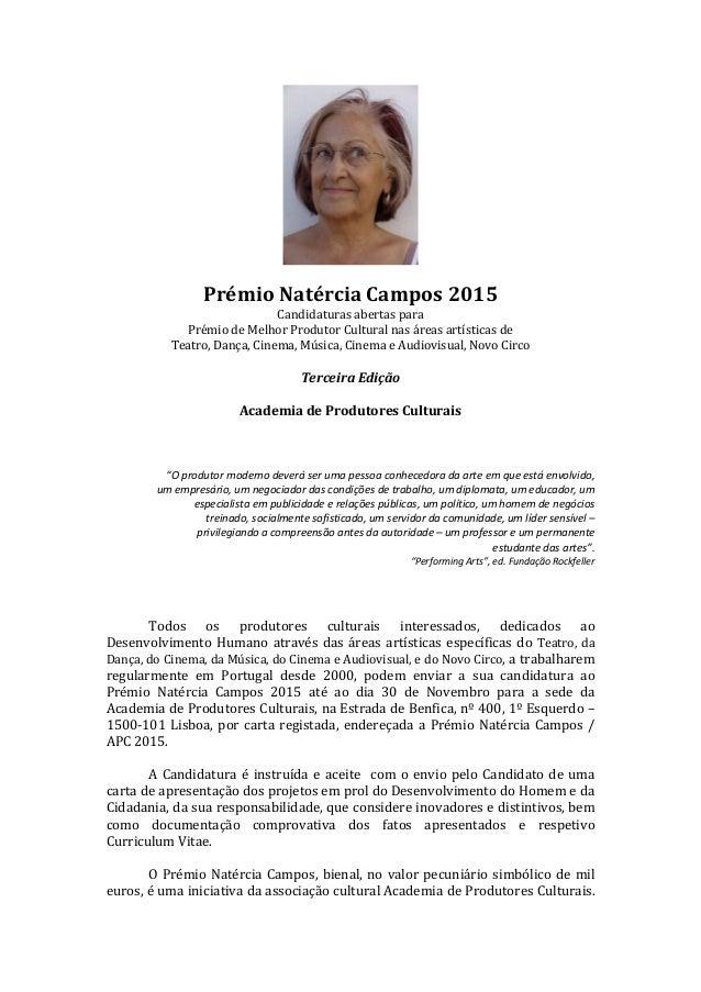 Prémio  Natércia  Campos  2015   Candidaturas  abertas  para     Prémio  de  Melhor  Produtor...