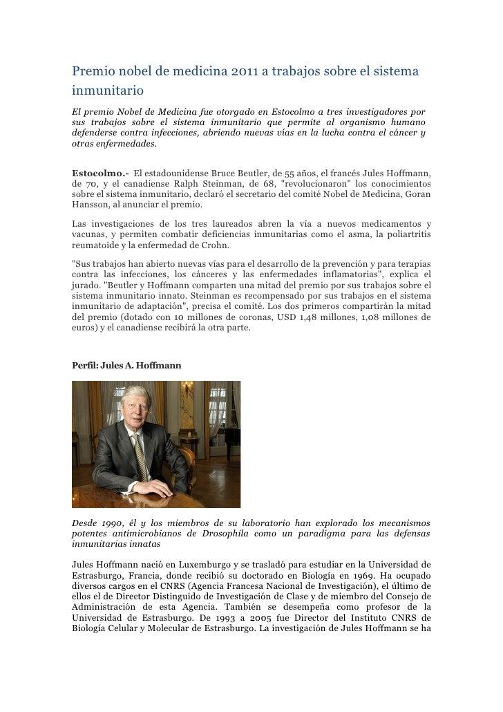 Premio nobel de medicina 2011 a trabajos sobre el sistema inmunitario