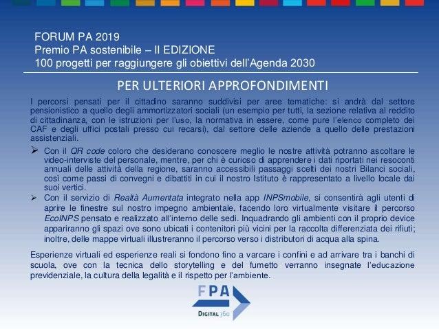 FORUM PA 2019 Premio PA sostenibile – II EDIZIONE 100 progetti per raggiungere gli obiettivi dell'Agenda 2030 PER ULTERIOR...
