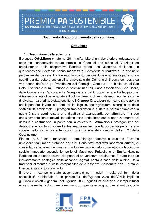 1 Documento di approfondimento della soluzione: OrtoLibero 1. Descrizione della soluzione Il progetto OrtoLibero è nato ne...