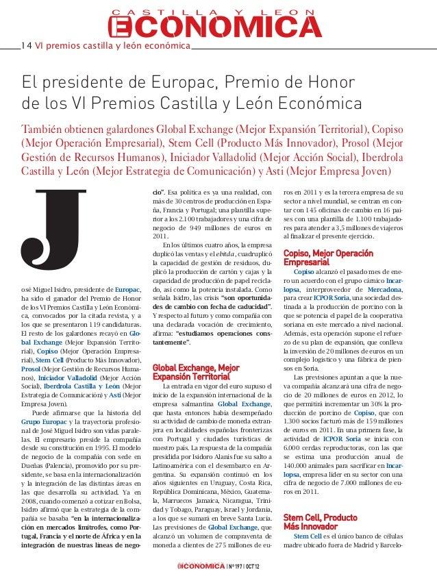14 VI premios castilla y león económicaEl presidente de Europac, Premio de Honorde los VI Premios Castilla y León Económic...