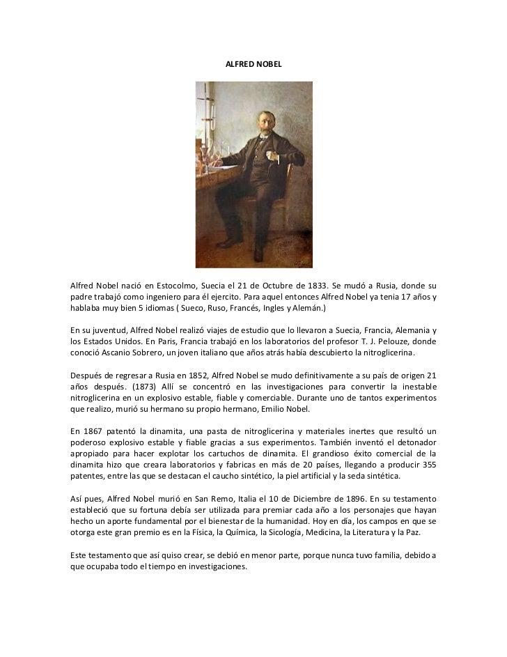 ALFRED NOBEL<br />Alfred Nobel nació en Estocolmo, Suecia el 21 de Octubre de 1833. Se mudó a Rusia, donde su padre trabaj...