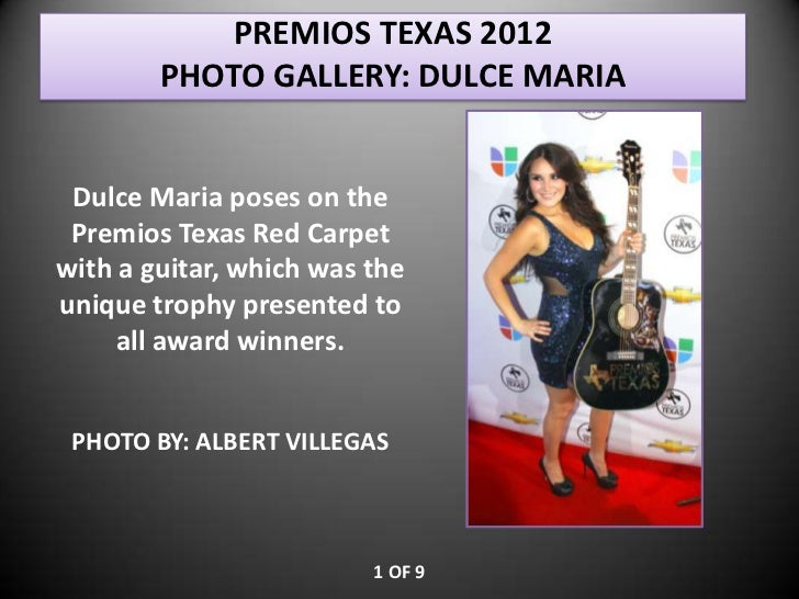 PREMIOS TEXAS 2012        PHOTO GALLERY: DULCE MARIA Dulce Maria poses on the Premios Texas Red Carpetwith a guitar, which...
