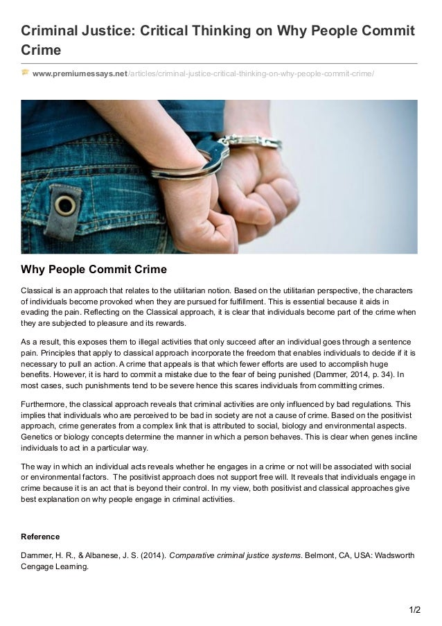 WHY PEOPLE COMMIT CRIMES