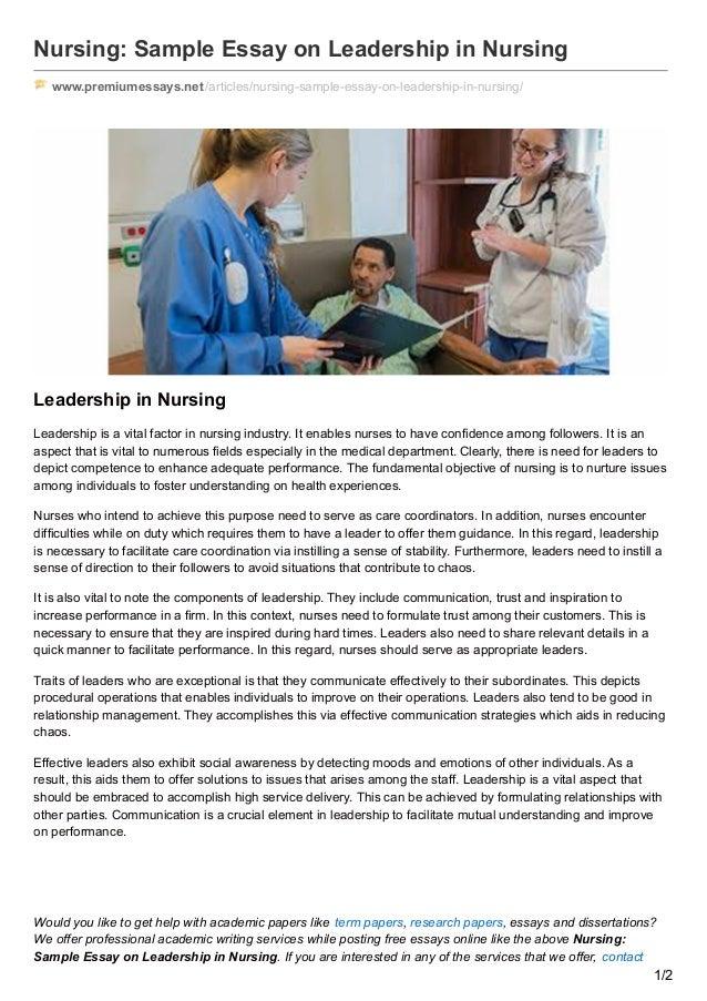 Premiumessays.net nursing sample essay on leadership in nursing