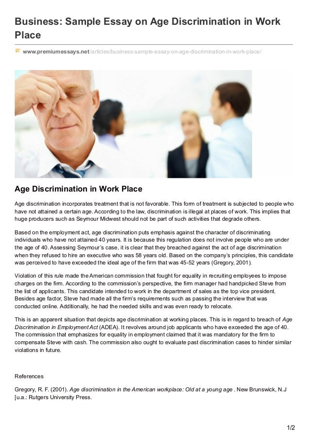 essay on age discrimination in the workplace