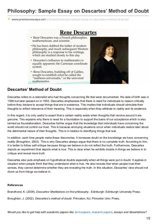 Premiumessays.net philosophy sample essay on descartes method of doubt