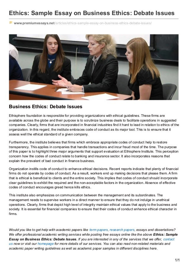 premiumessaysnet ethics sample essay on business ethics debate issues