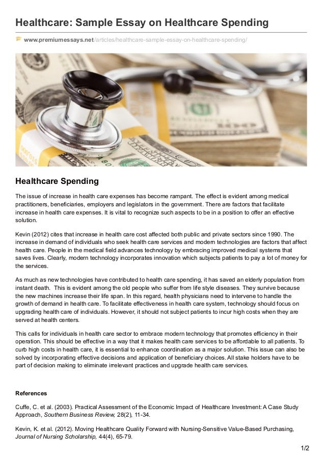 premiumessaysnet healthcare sample essay on healthcare spending