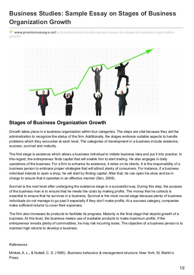 Business Studies: Sample Essay On Stages Of Business Organization Growth  Www.premiumessays.net ...