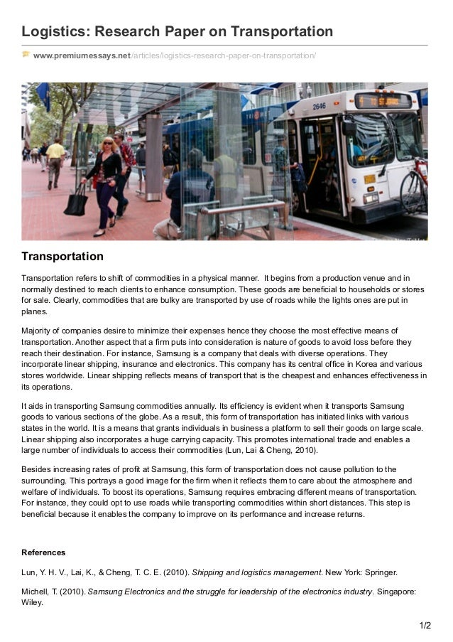 research paper on transportation