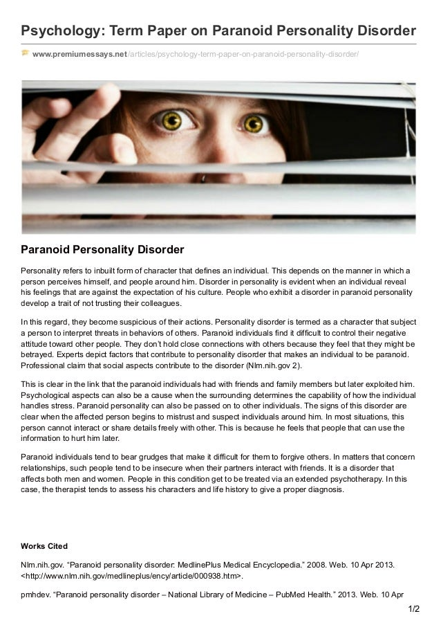 paranoid personality disorder term paper