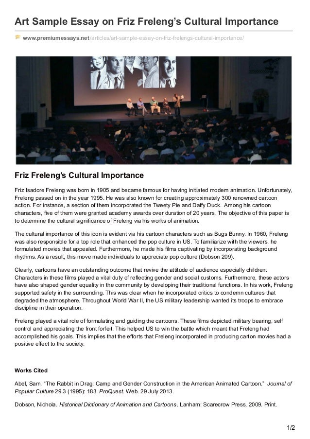premiumessays net art sample essay on friz frelengs cultural importan  art sample essay on friz freleng s cultural importance premiumessays net articles