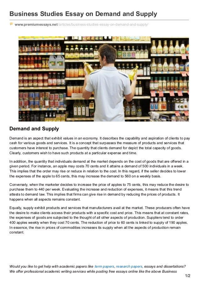 premiumessaysnet business studies essay on demand and supply