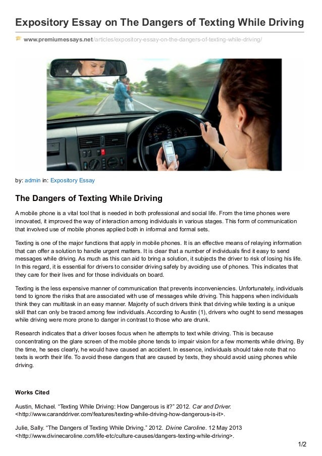 premiumessays net expository essay on the dangers of texting while dr  expository essay on the dangers of texting while driving premiumessays net articles