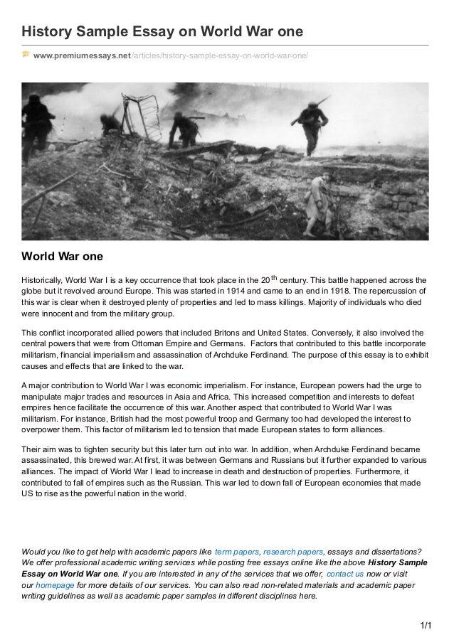 Premiumessaysnet History Sample Essay On World War One History Sample Essay On World War One Wwwpremiumessaysnetarticleshistory Term Paper Essay also Science Fiction Essay Topics  Proposal Essay Topic Ideas