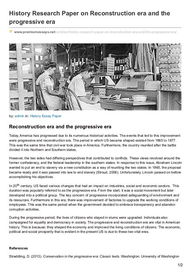 era essay reconstruction
