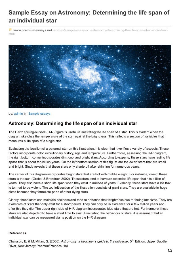 premiumessays net sample essay on astronomy determining the life span  sample essay on astronomy determining the life span of an individual star premiumessays