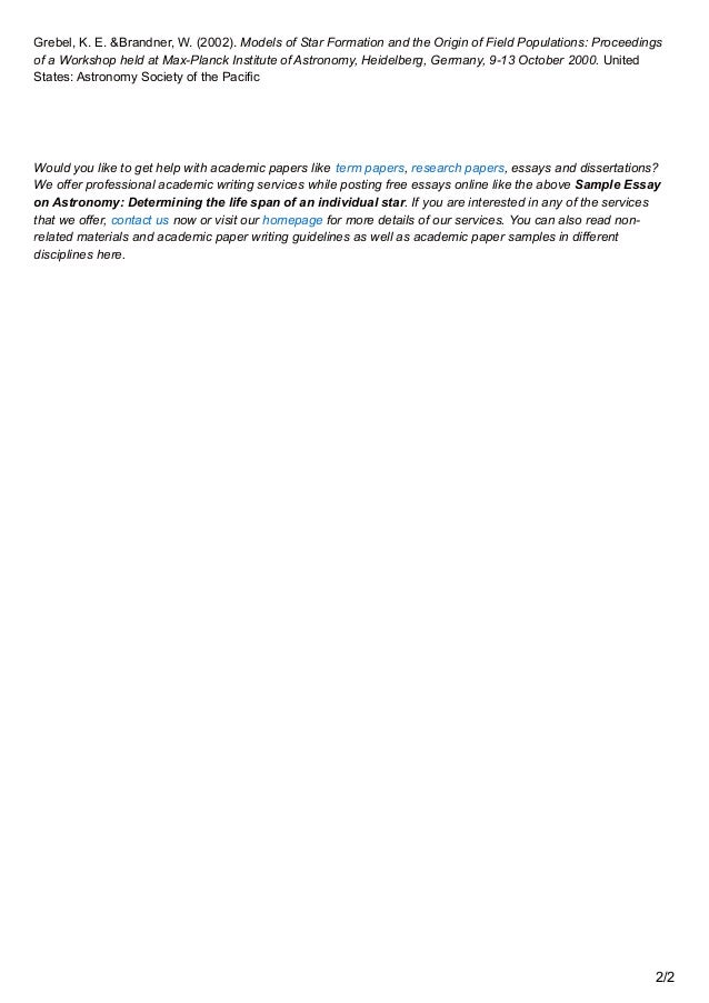 premiumessays net sample essay on astronomy determining the life span 2