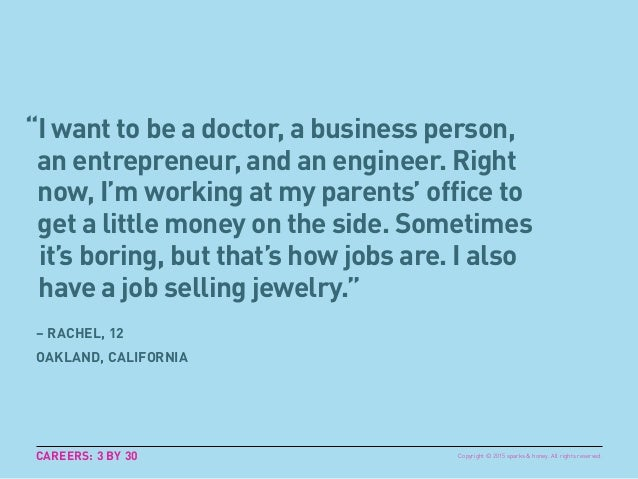 """I want to be a doctor, a business person, an entrepreneur, and an engineer. Right now, I'm working at my parents' office ..."