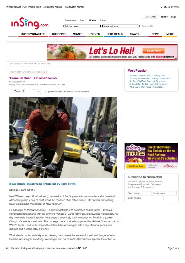 'Premium Rush': Oh-whatta-rush - Singapore Movies - inSing.com Movies                                                     ...