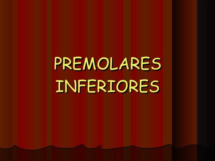 PREMOLARES INFERIORES
