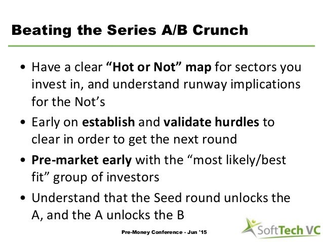 """Beating the Series A/B Crunch • Have a clear """"Hot or Not"""" map for sectors you invest in, and understand runway implication..."""