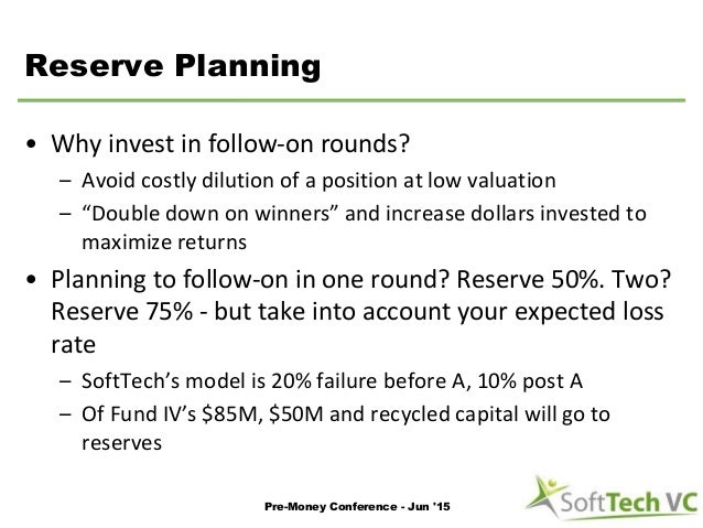 """Reserve Planning • Why invest in follow-on rounds? – Avoid costly dilution of a position at low valuation – """"Double down o..."""