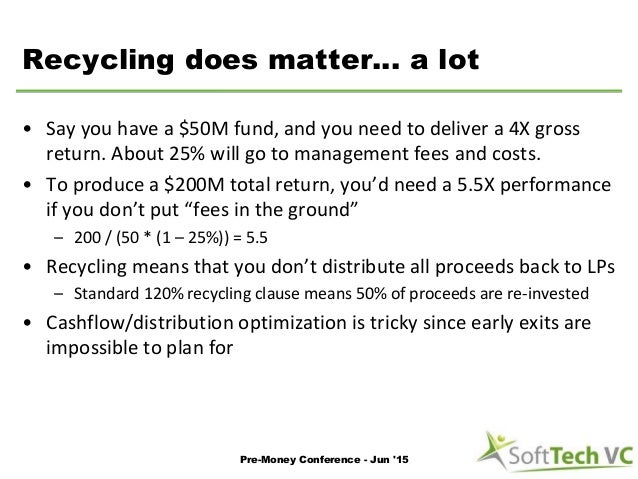 Recycling does matter… a lot • Say you have a $50M fund, and you need to deliver a 4X gross return. About 25% will go to m...