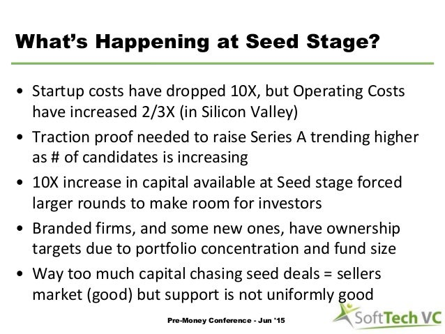 What's Happening at Seed Stage? • Startup costs have dropped 10X, but Operating Costs have increased 2/3X (in Silicon Vall...