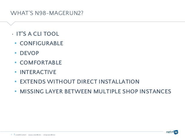 Magento 2 Seminar - Christian Muench - Magerun2 Slide 2