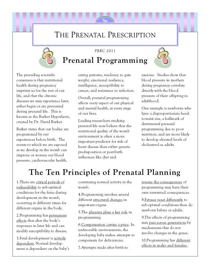 THE PRENATAL PRESCRIPTION                                              PBRC 2011                             Prenatal Prog...