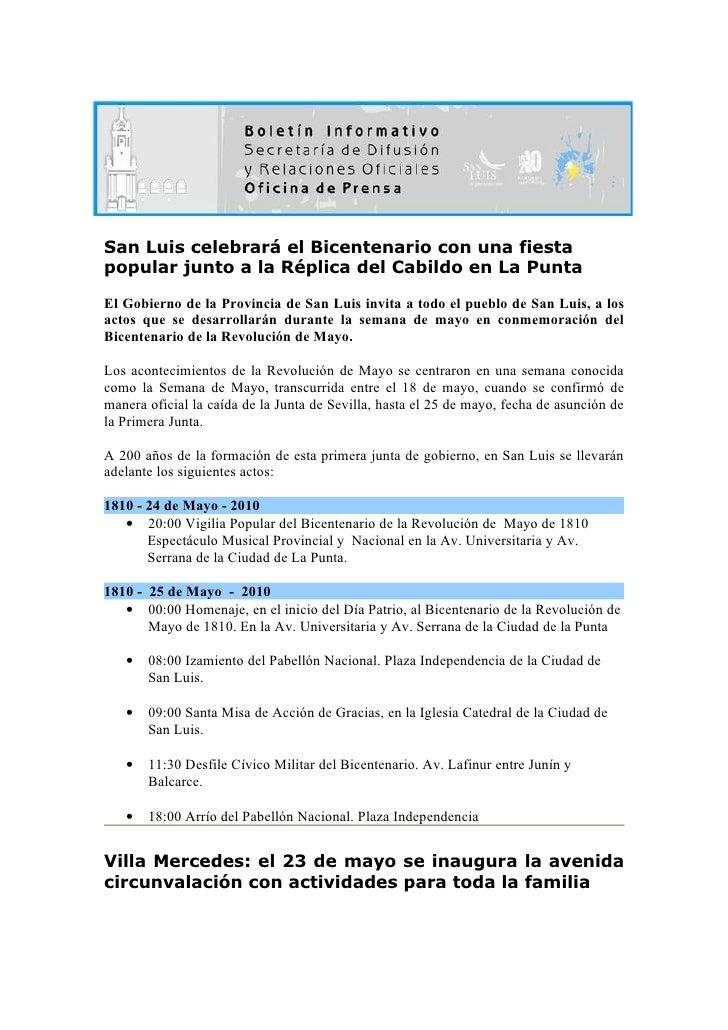 San Luis celebrará el Bicentenario con una fiesta popular junto a la Réplica del Cabildo en La Punta El Gobierno de la Pro...