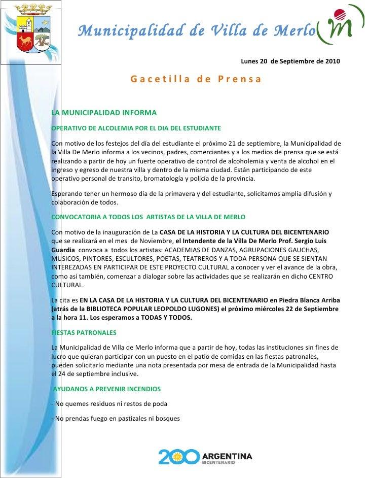 Municipalidad de Villa de Merlo                                                                   Lunes 20 de Septiembre d...