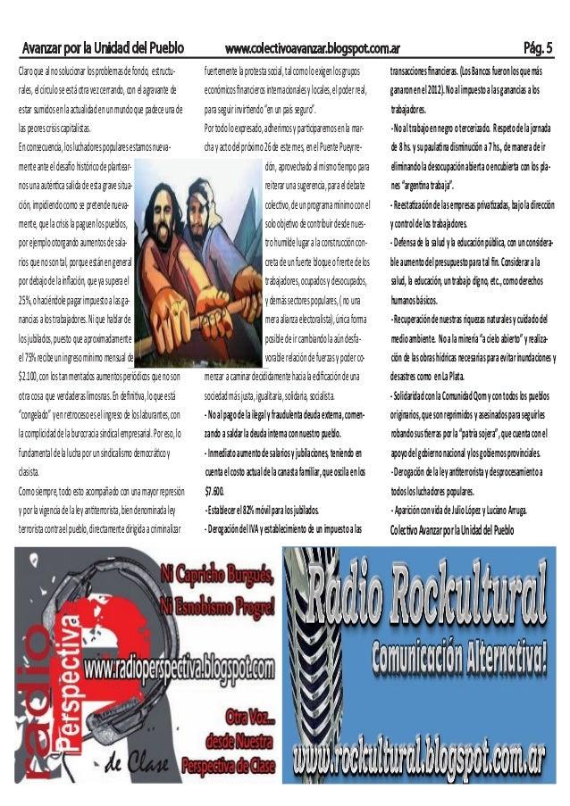 Avanzar por la Unidad del Pueblo www.colectivoavanzar.blogspot.com.ar Pág. 5Claroquealnosolucionarlosproblemasdefondo, est...