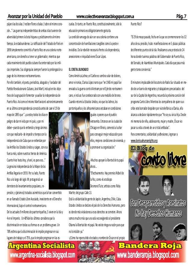 Avanzar por la Unidad del Pueblo www.colectivoavanzar.blogspot.com.a Pág. 7pájarolasdosalas/recibenfloresobalas/sobreelmism...
