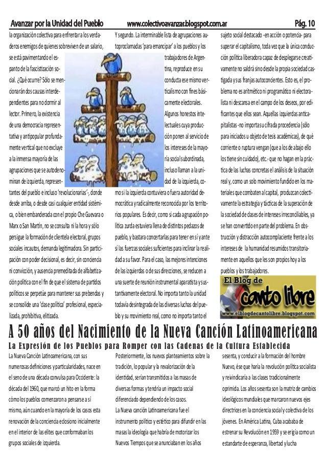 Avanzar por la Unidad del Pueblo www.colectivoavanzar.blogspot.com.ar Pág. 10 laorganizacióncolectivaparaenfrentaralosverd...