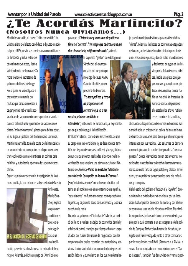 Avanzar por la Unidad del Pueblo www.colectivoavanzar.blogspot.com.ar Pág. 2 ¿Te Acordás Martincito? (Nosotros Nunca Olvid...