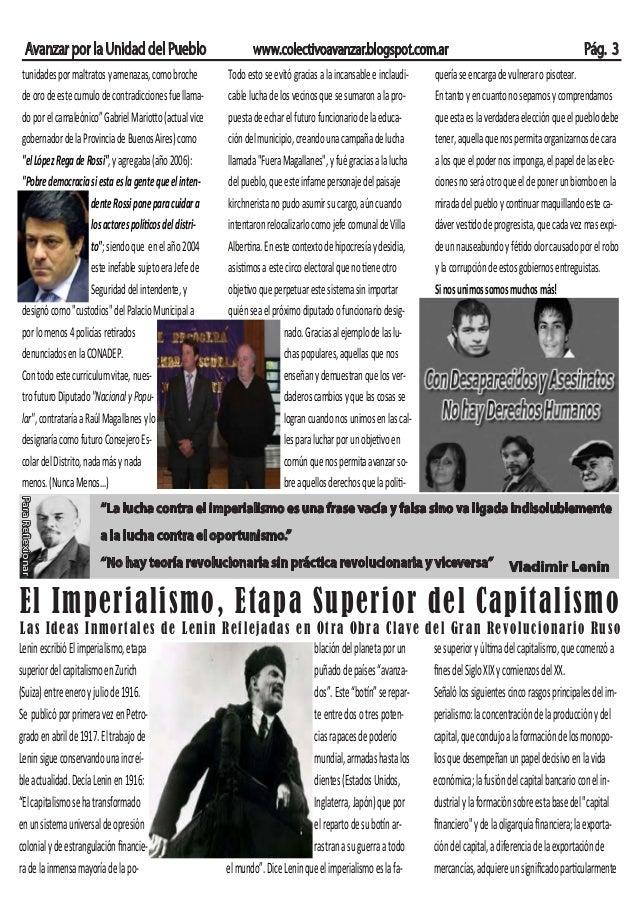 """Avanzar por la Unidad del Pueblo www.colectivoavanzar.blogspot.com.ar Pág. 3 """"La lucha contra el imperialismo es una frase..."""