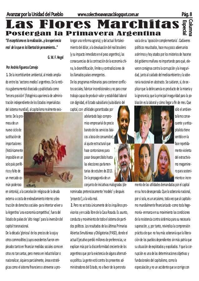 """Avanzar por la Unidad del Pueblo www.colectivoavanzar.blogspot.com.ar Pág. 8 """"Elescepticismoeslarealización…ylaexperiencia..."""