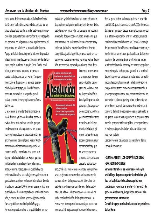 Avanzar por la Unidad del Pueblo carta a uno de los condenados. Cristina Fernández de Kirchner defendió este veredicto, di...