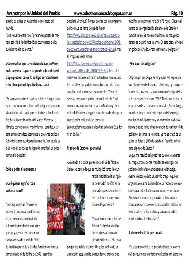 Avanzar por la Unidad del Pueblo www.colectivoavanzar.blogspot.com.ar Pág. 10 ginarloquepasaenArgentinayenelrestodel mundo...