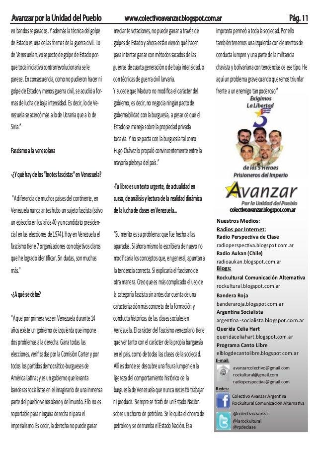 Avanzar por la Unidad del Pueblo www.colectivoavanzar.blogspot.com.ar Pág. 11 Por la Unidad del Pueblo colectivoavanzar.bl...