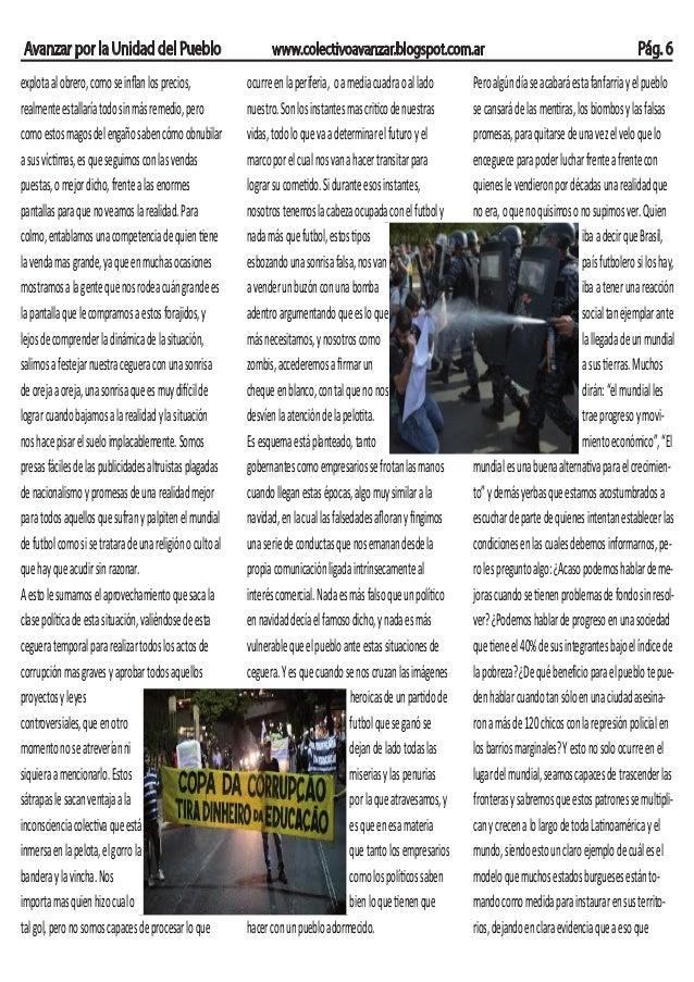 Avanzar por la Unidad del Pueblo www.colectivoavanzar.blogspot.com.ar Pág. 6 explotaalobrero,comoseinflanlosprecios, realme...